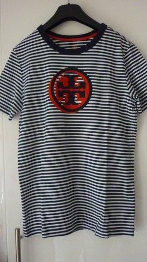 Tory Burch T-Shirt, gestreift, Navy/Weiß, Gr. S, Kurzarm, Rundhals, Baumwolle
