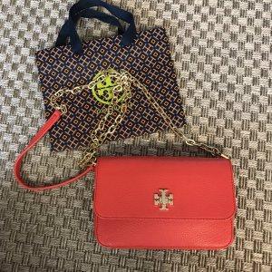 Tory Burch Tasche Handtasche Clutch Umhängetasche rot korallenrot gold