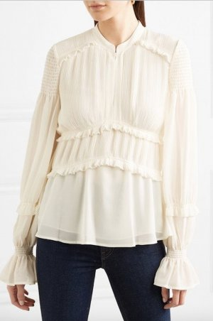 Tory Burch Tunika Rüschen Bluse Creme Weiß 36 S Stella Tunic Top Off-White Shirt