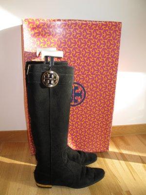 Tory Burch Uma Boots Stiefel Schwarz Gold 37 Wildleder