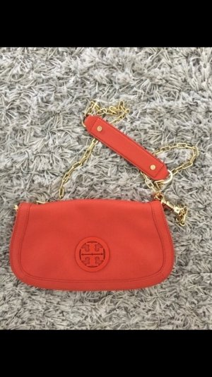Tory burch umhängetasche Tasche Clutch Leder orange Gold