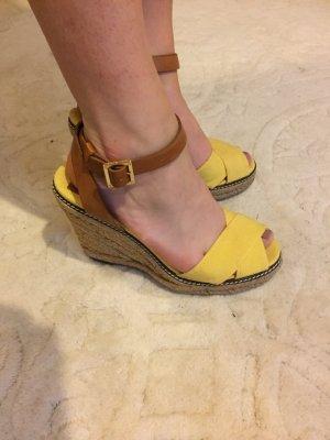 Tory burch wedges Keilabsatz Sandalen 38 39 gelb Bast neuwertig