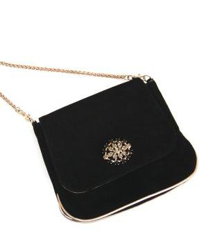 Tosca Blu Clutch, Wildleder Handtasche, Abendhandtasche schwarz/gold