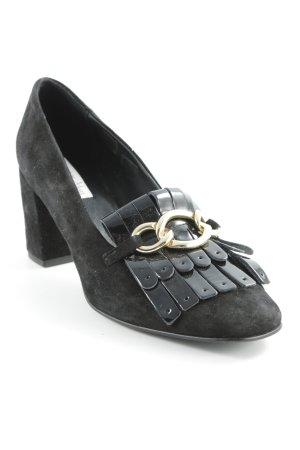 Tosca blu High Heels schwarz-goldfarben extravaganter Stil
