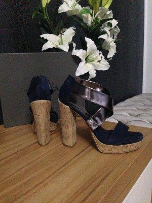 Tosca blu Sandalo alto con plateau multicolore Scamosciato