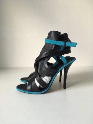 Tosca Blu Leder High Heels Riemchen Sandaletten NEU schwarz türkis Gr. 39