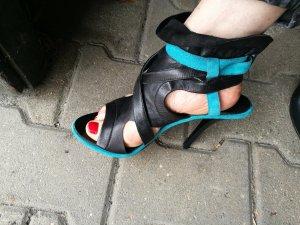 Tosca blu Talons hauts bleu pétrole-noir cuir