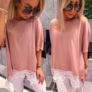 Oversized blouse stoffig roze-rosé