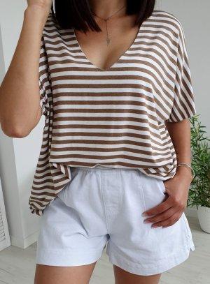 Oversized blouse wit-lichtbruin