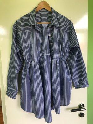 Zara Robe chemise bleu fluo-blanc coton