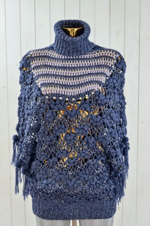 TOUCH LUXE Damen Poncho Umhang Wolle Rayon Lurex Blau Silber Nieten Rolli Gr.M