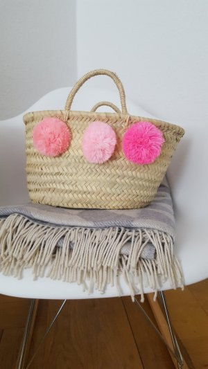 Touda Bast-Korb Tasche Pompoms Pink neuwertig