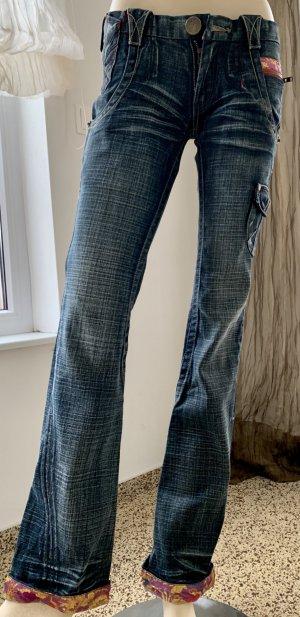 Jeans bootcut multicolore coton