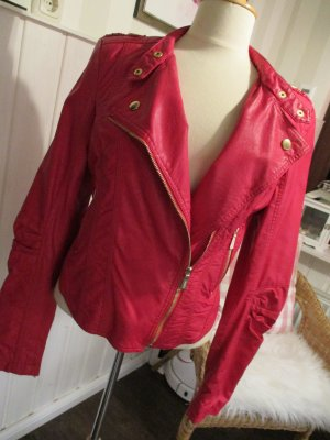 Toxik3 coole Bikerkjacke (Kunst) Leder in Pink mit goldenen Details ... der Hingucker
