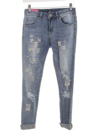 Toxik3 Slim Jeans graublau Destroy-Optik