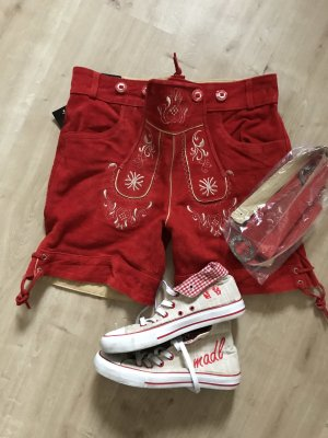 Pantalon traditionnel en cuir rouge