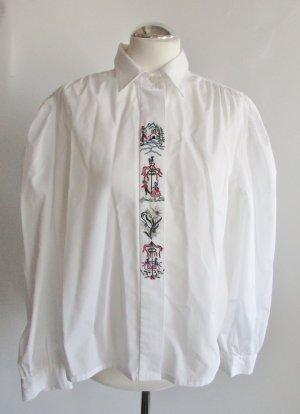 Trachten Bluse Diolen Größe L 42 Weiß Stickerei Hemd Enzian Langarm Oversize Dirndl Mai Oktoberfest Vintage 80er Dirndlbluse Trachtenbluse Landhaus