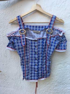 Trachten Bluse / Hemd blau karriert