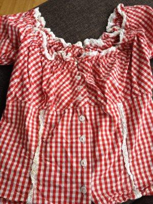 Trachten Bluse in rot/weiß