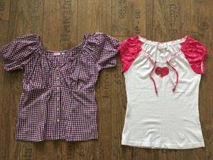 Folkloristische blouse lila-wit