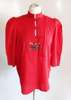 Trachten Bluse Tunika HESS Frackmann Größe M 40 Rot Stickerei Landhaus Folklore Baumwolle Retro Hornoptik Knöpfe Ungarn