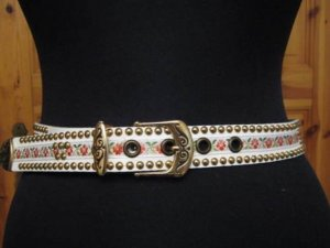 Studded Belt white leather