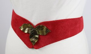 Trachten Gürtel Mieder 77 cm - 87 cm Rot Wildleder Leder Metall Orden Rockabilly Medallie Tailliengürtel Dirndl Blätter