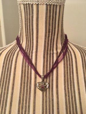Collana argento-marrone-viola