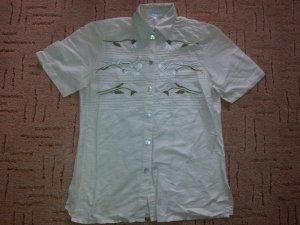 Trachten Hemd Bluse Peter Hahn creme-beige Größe 40 Blume
