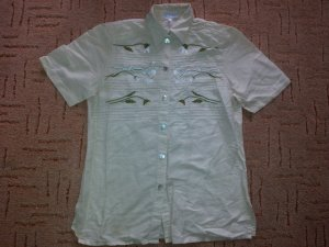 Peter Hahn Camisa folclórica crema-beige claro
