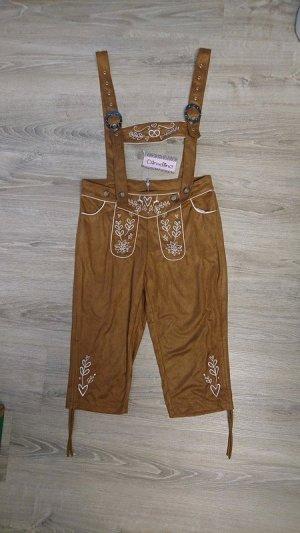 Pantalón folclórico marrón tejido mezclado