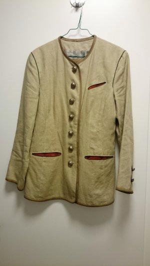 Trachten Jacke Janker Leder Creme Beige Rot Vintage Retro in Gr. 40
