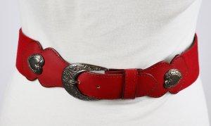Cinturón pélvico rojo-color plata tejido mezclado