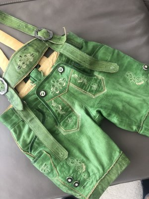 Krüger Dirndl Pantalon traditionnel en cuir vert gazon cuir