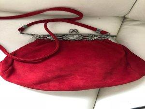 Trachten Tasche Party Wildleder rot Silber