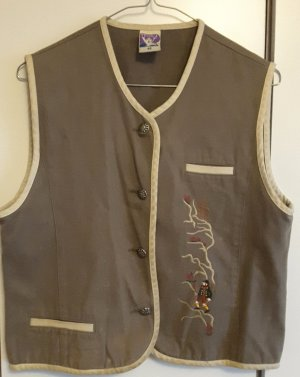 Emma & Jessica Traditional Vest bronze-colored-light grey cotton