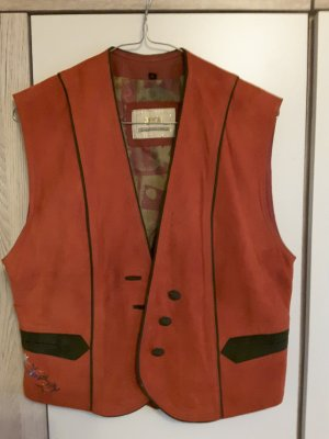 gede Traditional Vest brick red-dark green leather
