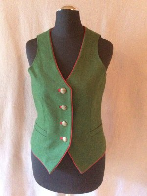 Traditional Vest dark red-forest green wool
