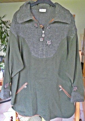 Trachten-Wollpullover in olivgrün Größe ca. 42/44 bzw. XL