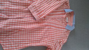 Blouse à carreaux orange-bleu