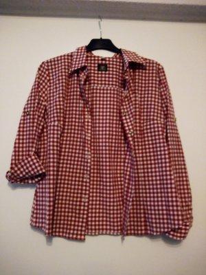 OS Trachten Folkloristische blouse wit-rood