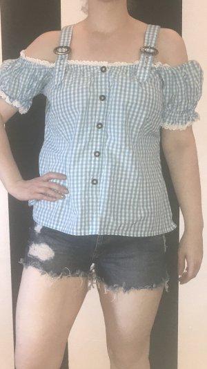 Alphorn Blouse bavaroise blanc-bleu clair