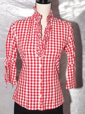 Almsach Traditional Blouse red-white cotton