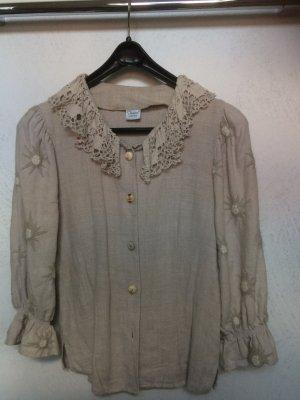 Imperial Folkloristische blouse licht beige Linnen