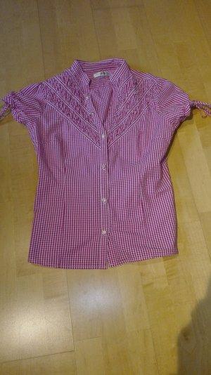 Almsach Blusa tradizionale bianco-rosa