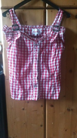 Fuchs Trachtenmoden Folkloristische blouse wit-rood