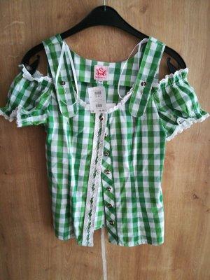 Spieht & Wensky Folkloristische blouse wit-groen