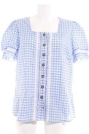 Blouse bavaroise bleu azur-blanc motif à carreaux style campagnard