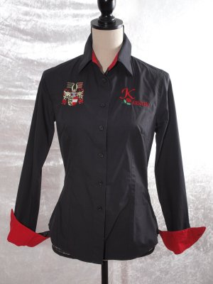 Traditional Blouse black-red cotton
