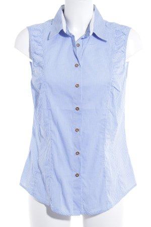 Folkloristische blouse korenblauw-wit geruite print casual uitstraling
